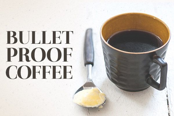 Bulletproof coffee with butter and coconut oil   2 shots espresso 1 cup hot water 1 tbsp Kerrygold grass-fed organic butter 1 tsp organic coconut oil Method: Put all ingredients into a Magic Bullet for about five seconds, whipping until frothy.