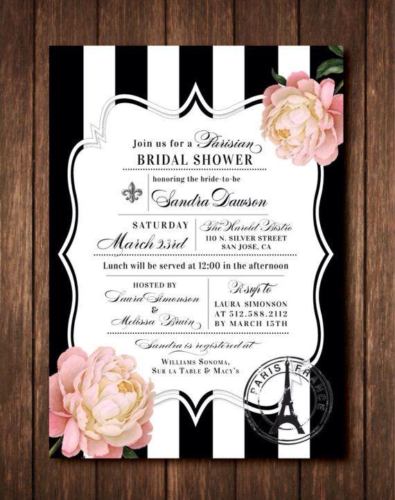 Parisian French Bridal Shower Invitations - Paris France - Black & White, Pink, Gold Striped Vintage Floral - Printed Invites with envelopes
