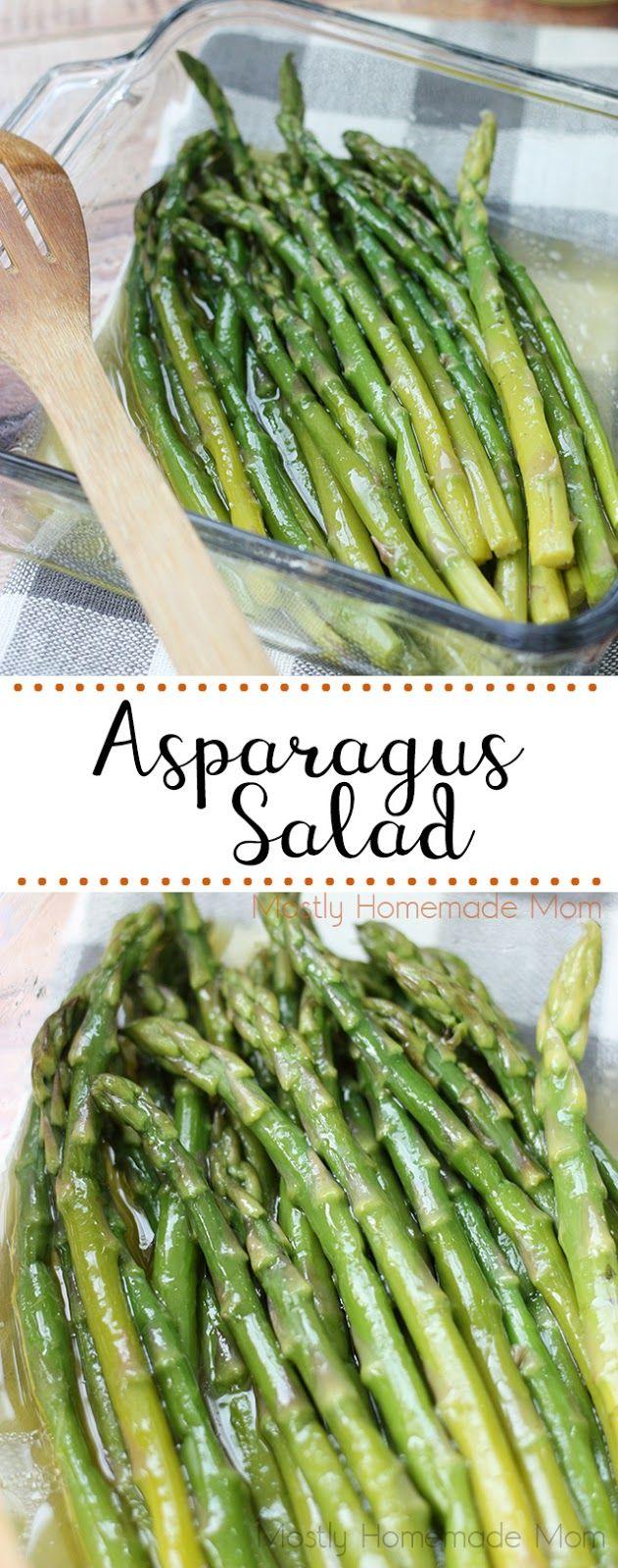 Asparagus Salad - so delicious! Steamed asparagus with a apple cider vinaigrette, yum!