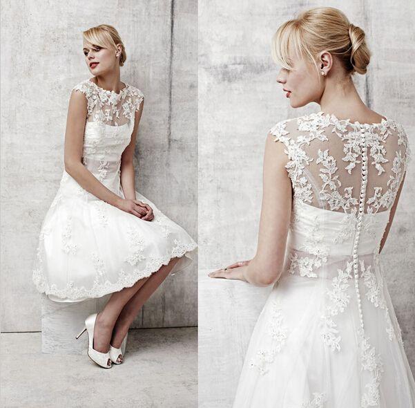Hot Sales Vestido De Noiva Two Pieces Applique Crystal A-Line Knee Length Bridal Gowns Vintage Lace Short Wedding Dresses W1038
