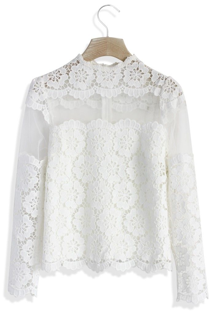 Flower Dance Mesh Crochet White