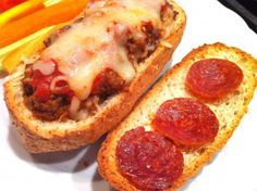 Best way to use leftover meatloaf...bake the pepperonis to make them a little crispy!