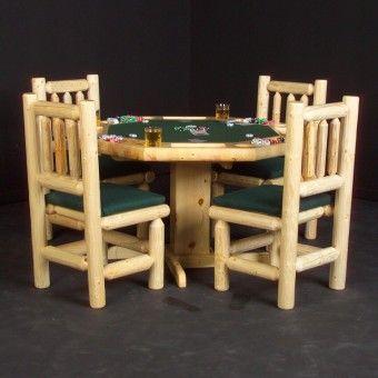 Pine Log Poker Table | Rustic Cabin Decor
