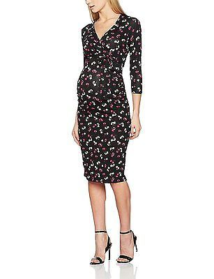 22, Black, Dorothy Perkins Maternity Women's Pansy Tie Wrap Dress NEW