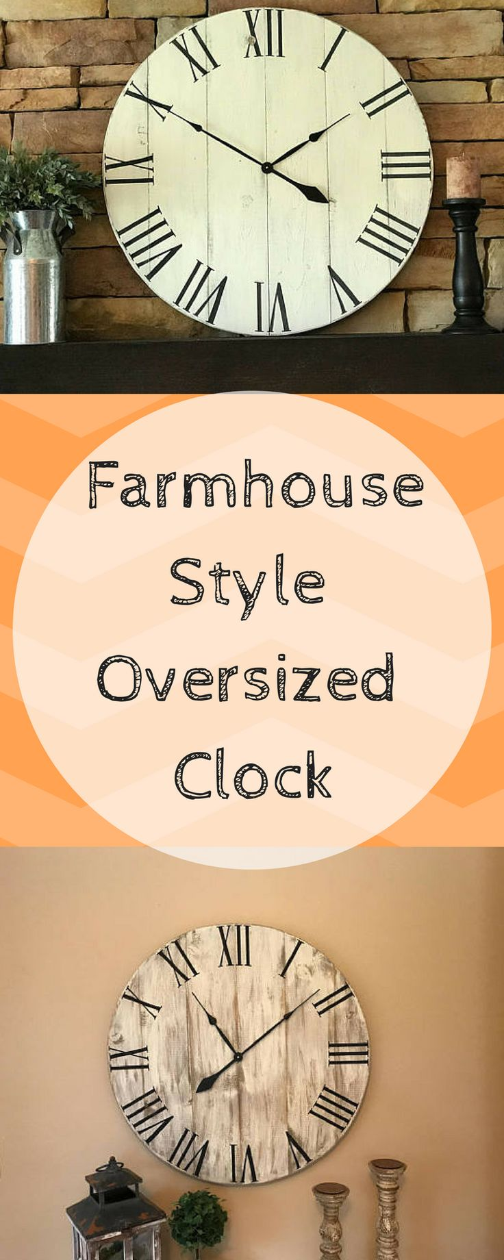 """30"""" Farmhouse Clock, Oversized Clock, Wall Decor, Rustic Clock, Large Wooden Clock, Farmhouse Decor, Home Decor #farmhouse #ad #farmhousedecor #farmhousestyle #homedecor #clock"""