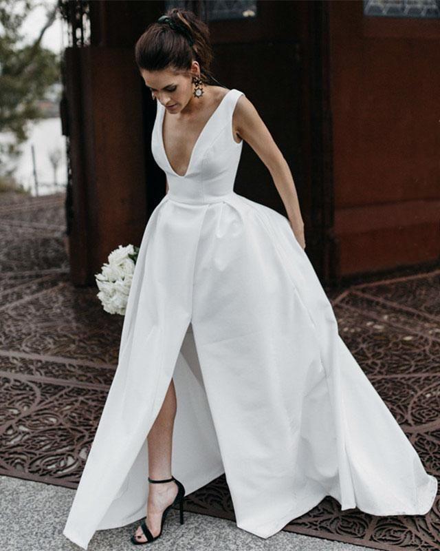 Simple White Deep V Neck V Back Side Split Satin Wedding Dresses Bride Gown