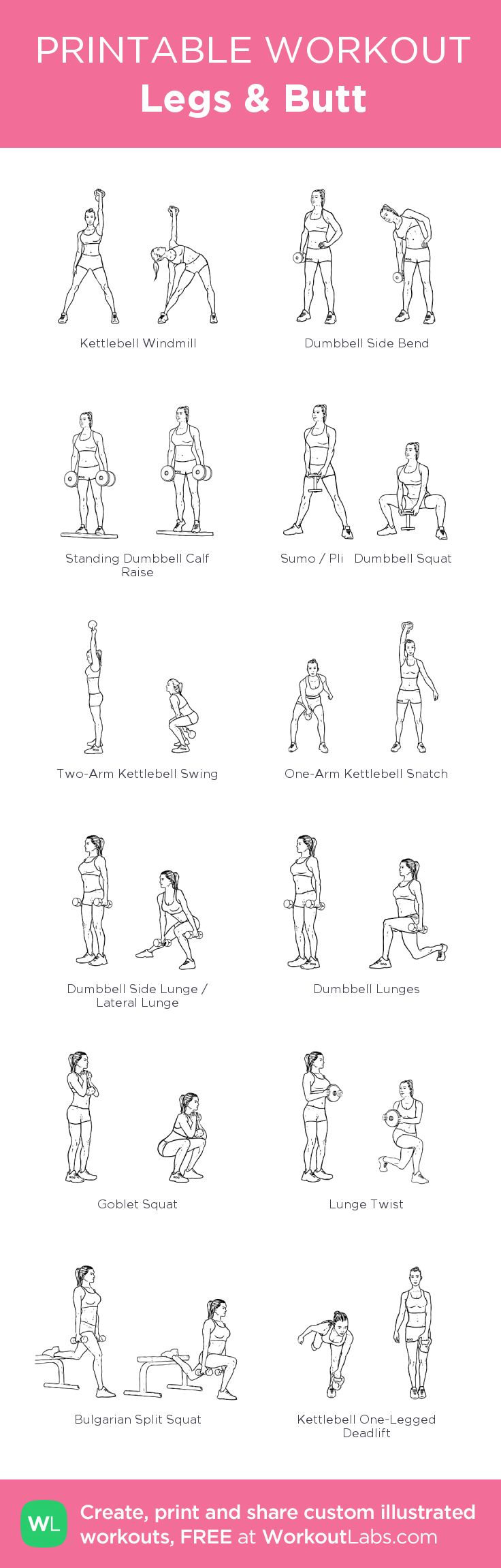 Legs & Butt: my visual workout created at WorkoutLabs.com • Click through to customize and download as a FREE PDF! #customworkout