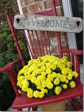 Pretty mums, an old rocking chair, and of course the welcome sign - it's autumn!  from BPM
