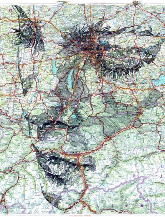 Portraits on maps, by Ed Fairburn