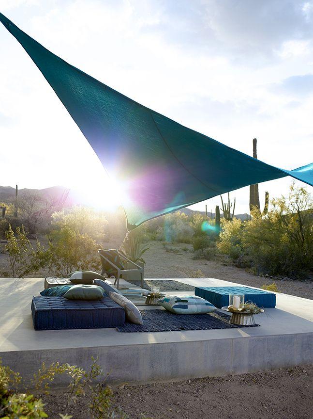 A desert sunrise captured beneath this stunning shade sail. #shade