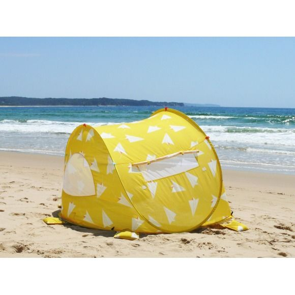 Pop up beach tent in Paper Planes print | hardtofind.