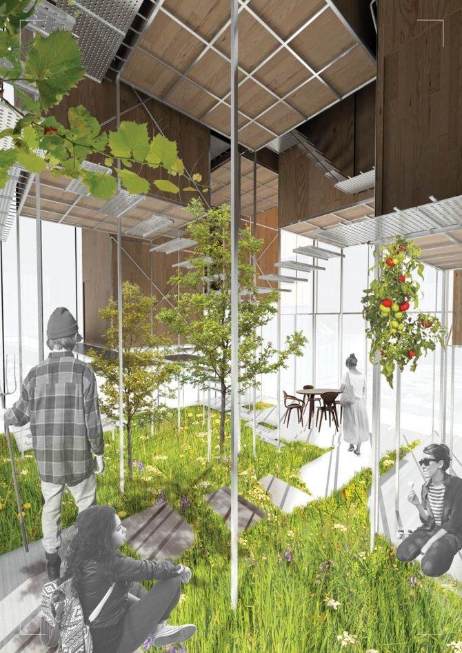 Zoe Ella. Victoria University, Wellington NZ.  http://cargocollective.com/zoeella Perspective | Render | Greenhouse | Student Housing | Architecture | VUW | ARCI211