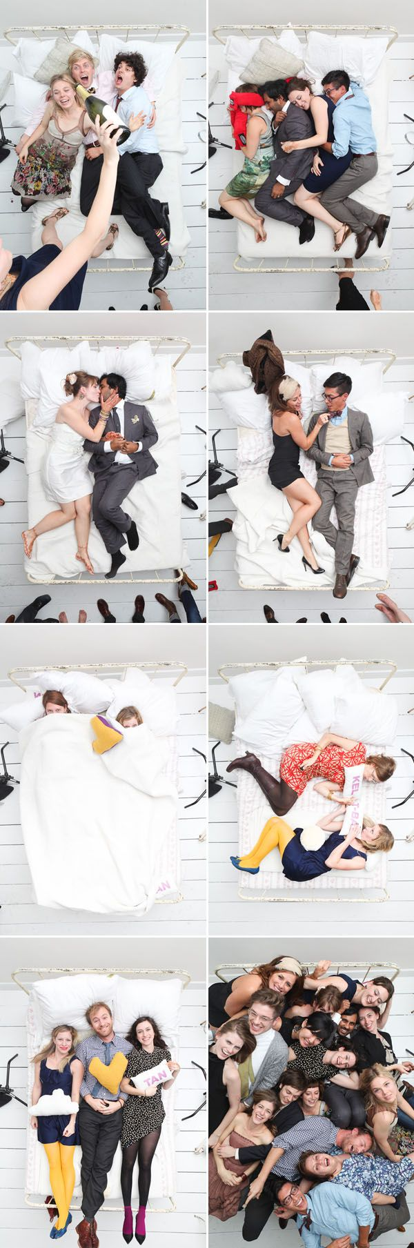 """""""Best vantage point for a photobooth EVER!  Oh Snap! Smile is a new collaboration between Jacob Pritchard Photography and Tanveer Badal Photography, and for Tanveer's wedding, they set up the camera above a bed and had some rad pillows made by Sarah Goldshadt.  The result?  Totally fun pics!"""" via Brooklyn Bride"""