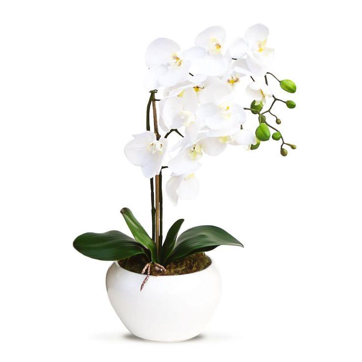 Arranjo de flores artificiais orquideas brancas vaso bow 45x20 cm - Orquideas - Arranjos de Flores Artificiais