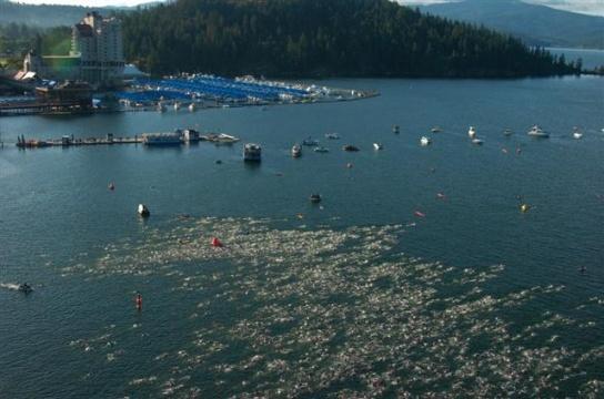 Ironman Coeur d'Alene swim. Let the day begin!