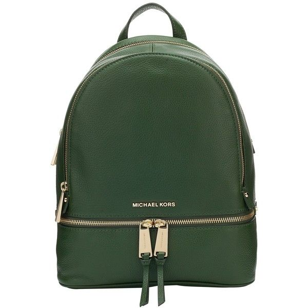 MICHAEL Michael Kors Rhea Leather Backpack , Moss (7043920 BYR) ❤ liked on Polyvore featuring bags, backpacks, moss, leather rucksack, sports bag, real leather backpack, genuine leather bags and leather sports bag