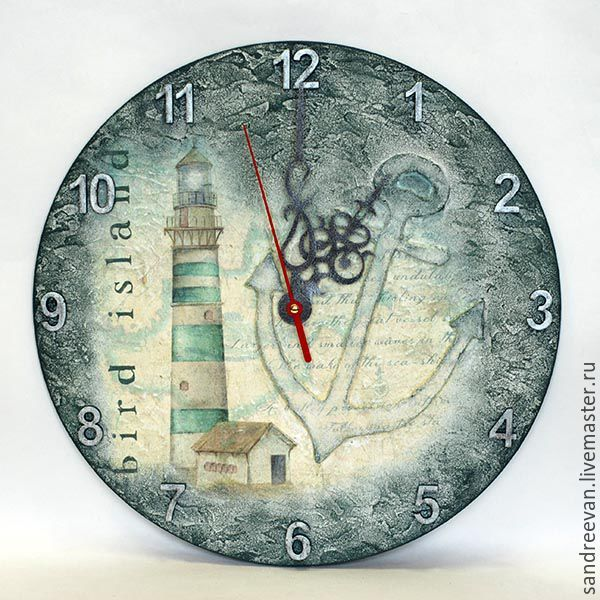 "Купить Часы ""Маяк"" - комбинированный, часы, часы настенные, морская тематика, маяк, часы маяк"