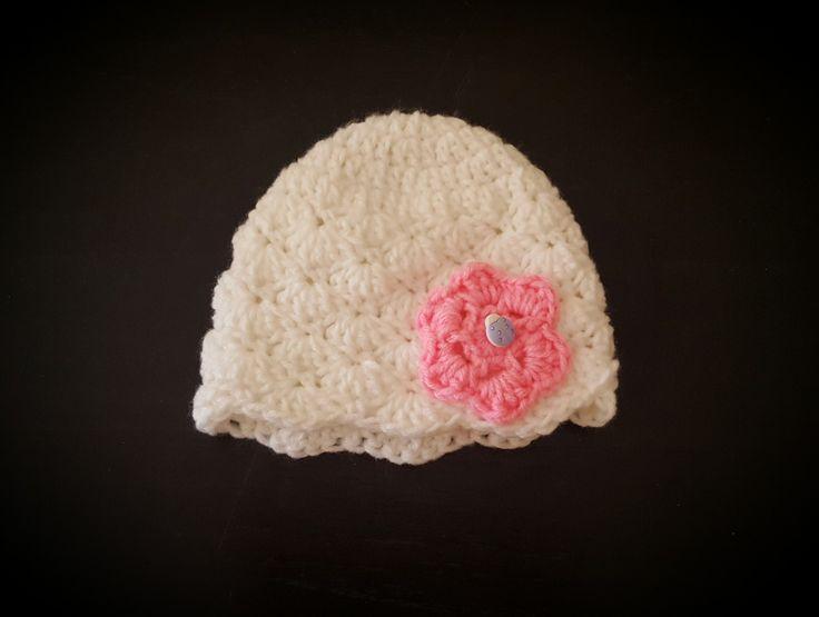 Gorrito con flor al crochet - T: 1 a 3 meses
