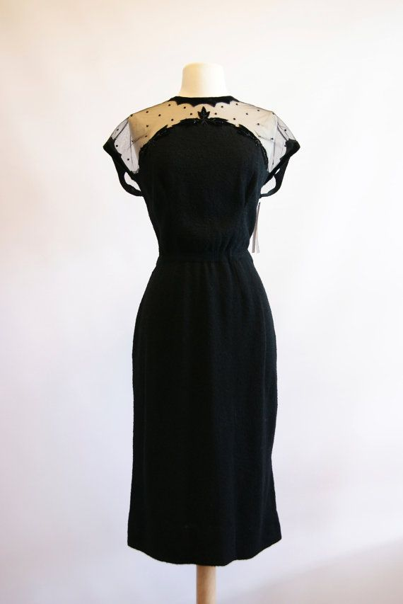 1950s Black Knit Cocktail Dress With Illusion by xtabayvintage