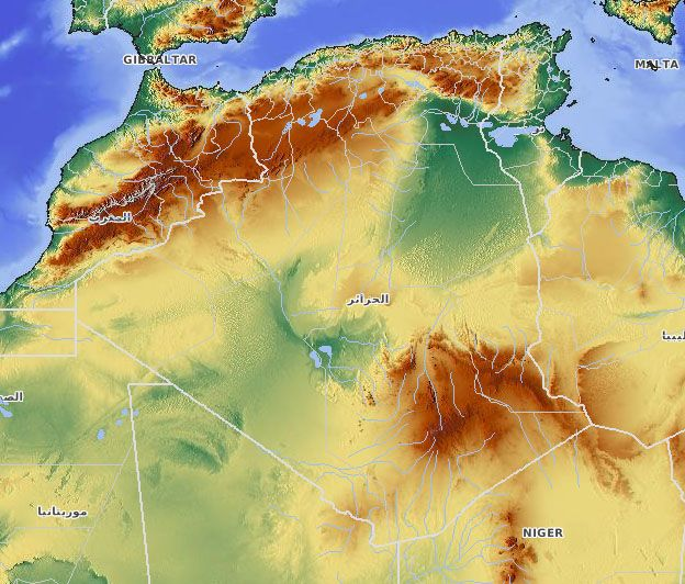 Algeria Relief Africa Map Atlas Mountains The Atlas