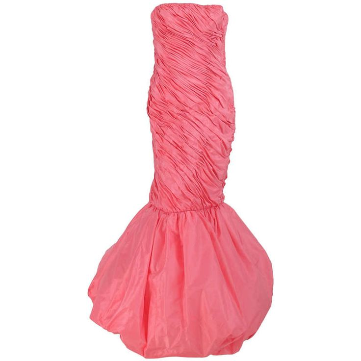 1980s Murray Arbeid pink silk bubble hem gown | From a collection of rare vintage evening dresses at http://www.1stdibs.com/fashion/clothing/evening-dresses/