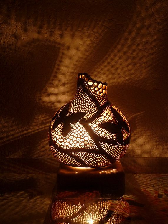 Unique, one of a kind gourd art, ambiental gourd lamp with a motif of Butterfly  The Lamp is made out of dried gourd, using various techniques. The