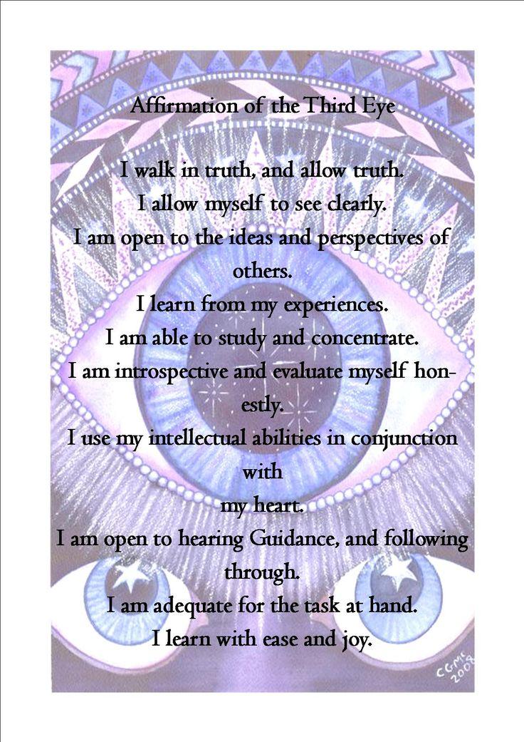 Third Eye Affirmations: pic and words found online. balancedwomensblog.com