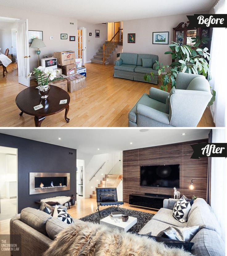 MODERN LIVING ROOM TRANSFORMATION! These DIYers took their 80s style home and made it a chic, modern space! So incredible!! The Uncommon Law - The Living Room: Before & After @The Uncommon Common Law