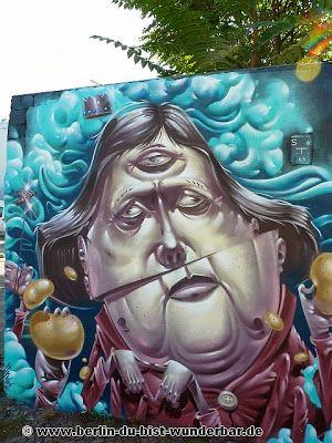 streetart, berlin, kunst, graffiti, street art, mural, wandbild, hrvb, the weird, kanzlerin