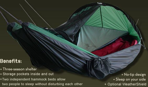 Clark Jungle Hammock - Vertex --- two independent hammock beds with storage pockets inside and out