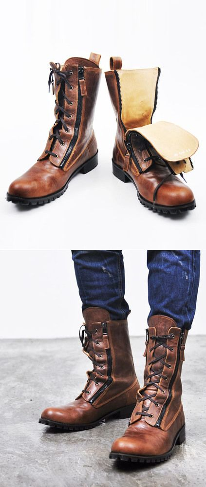 Caramel Leather Boots, Double Zippers & Laces. Men's Fall Winter Fashion. #streetstyle