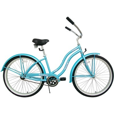 Greenline Bicycles Ladies Single Speed Deluxe Beach Cruiser in Baby Blue - BC-105Deluxe(L)-BabyBlue