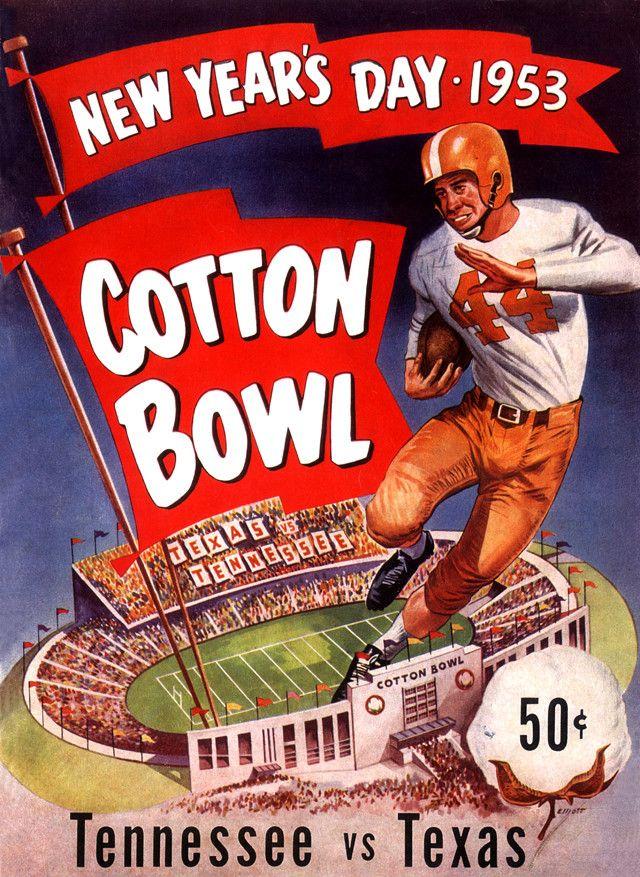 1953 Texas Longhorns vs Tennessee Volunteers 22 x 30 Canvas Historic Football Poster