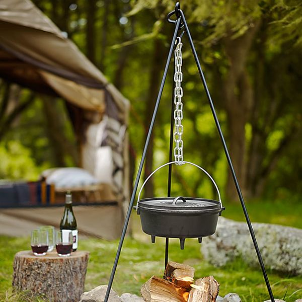 Daniel Boone would be proud! Standing 5′ tall with an adjustable 36″ chain, The Lodge Tall Boy Tripod is constructed from hot-rolled half inch bar stock and galvanized chain. This rugged tripod is ideally suited for use with Lodge Dutch ovens, camp ovens and kettles.