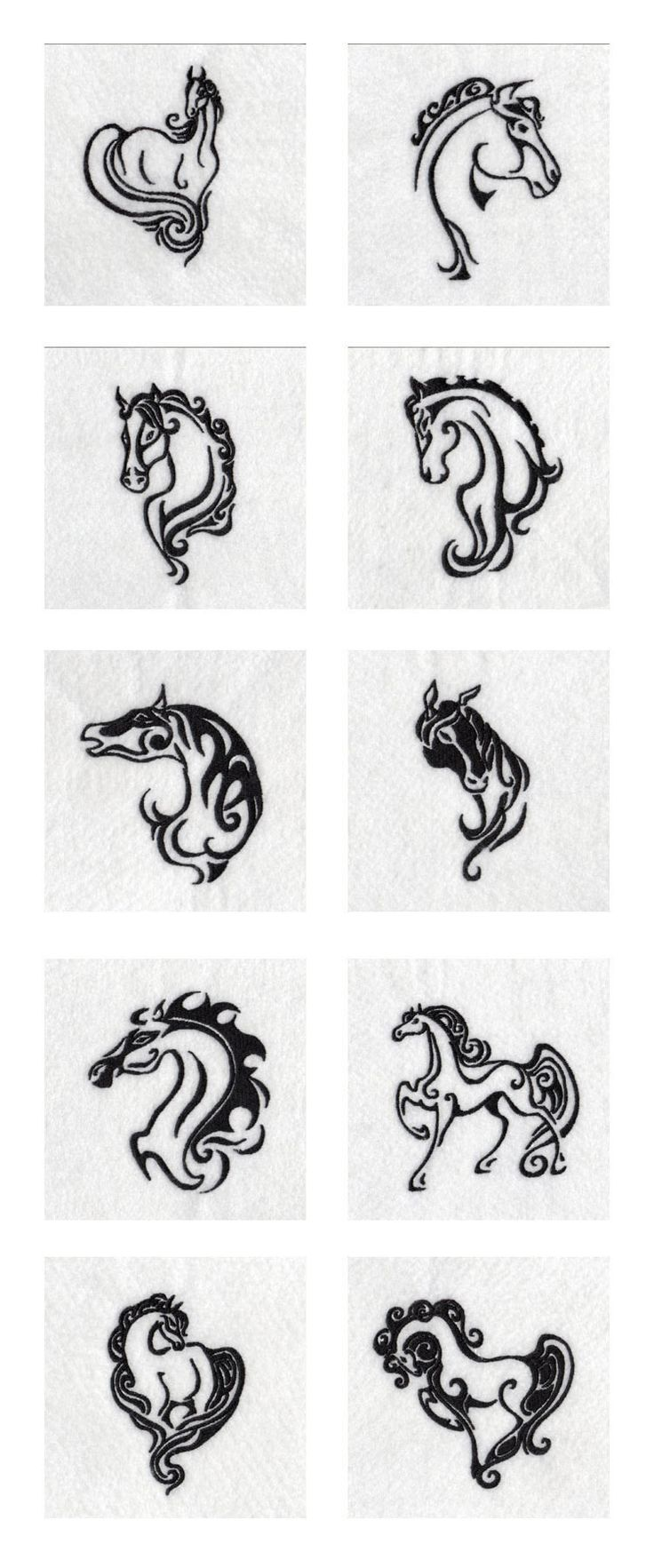 Elegant Wild Horses Embroidery Machine Design Details