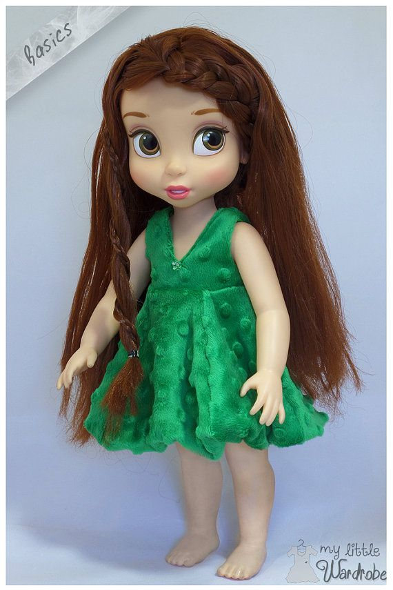 Mink fluffy green puff dress for your Disney Animator Doll!    As a part of the Basics item series, this item comes on its own without any