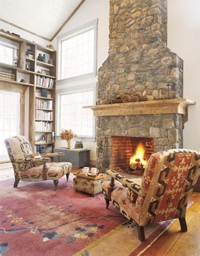 Rustic Fireplace Design Farmhouse