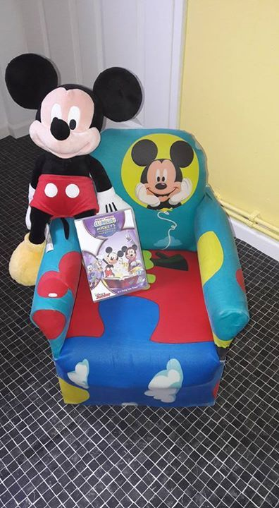 Mickey mouse solid wood chair and teddy and dvd  £20 from pet and smoke free home.  Collection Ards. #babyclothes