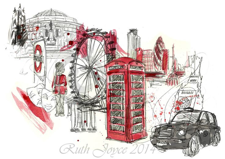 A #London collage #illustration #art #drawing #red #city #uk #ruthjoyceart