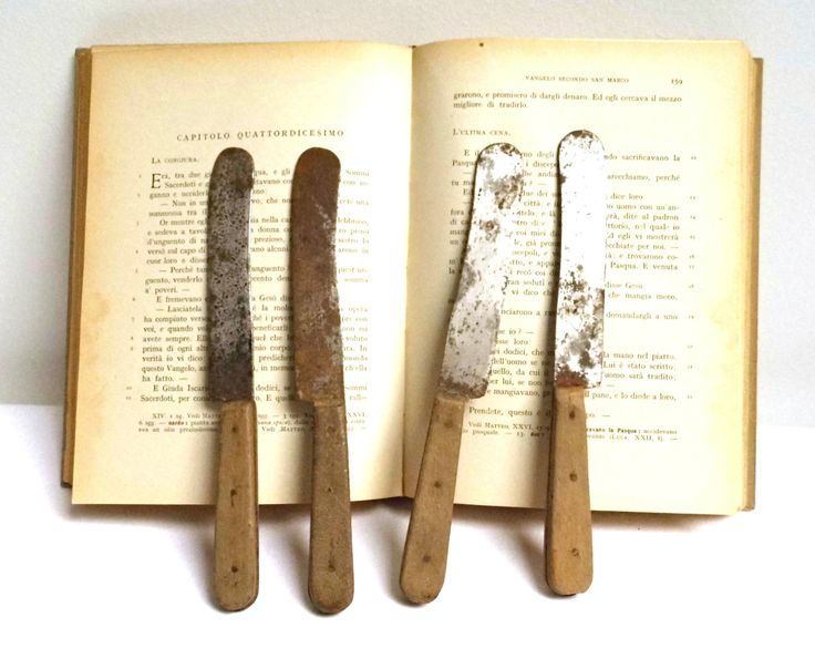 Set 4 Vintage Antique Table Knives Butter Spreader Primitive Antiques Rustic…