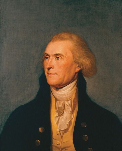 Thomas Jefferson, red haired American Founding Father, the principal author of the Declaration of Independence, and third President of the United States, a globally influential spokesman for democracy and the rights of man