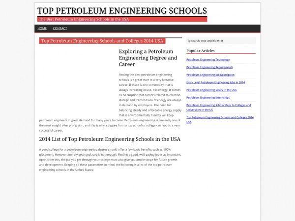 Petroleum Engineering popular majors