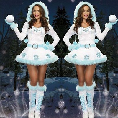 Miss Santa Claus Costume Womens Mrs Father Christmas Xmas Fancy Dress Outfit