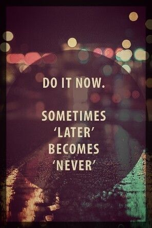 """""""Do it now. Sometimes """"later"""" becomes """"never"""". Don't let your moments slip away into """"someday"""". Make your mark on this moment."""