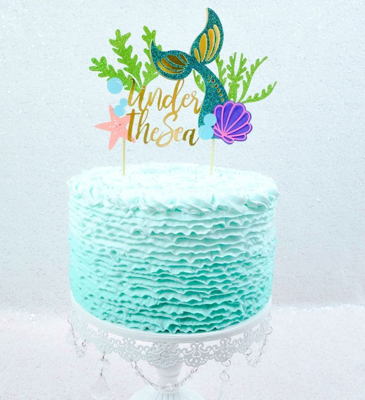 Mermaid Happy Birthday Cake Topper Gold Acrylic Mermaid Cupcake Topper Glitter for Kids Boys Girls Birthday Party Decorations