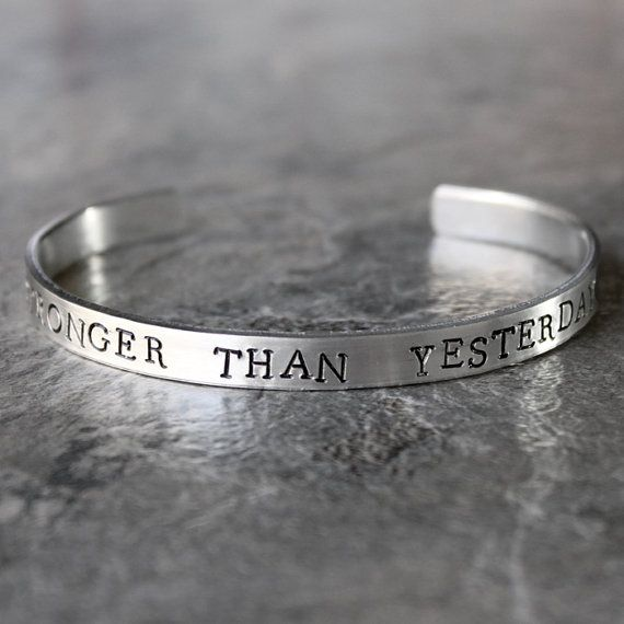 Stronger Than Yesterday Bracelet, Motivational Jewelry Fitness Cuff bracelet Girls Who Lift Inspirational Gym Jewelry Weight Lifting Fitfam