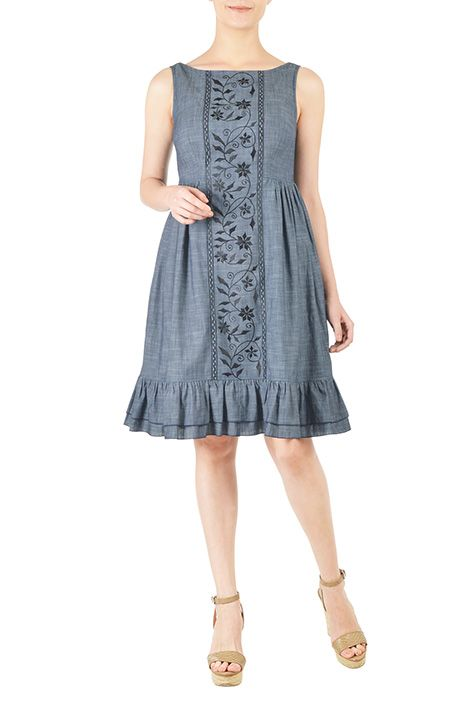 I <3 this Floral vine embellished chambray dress from eShakti