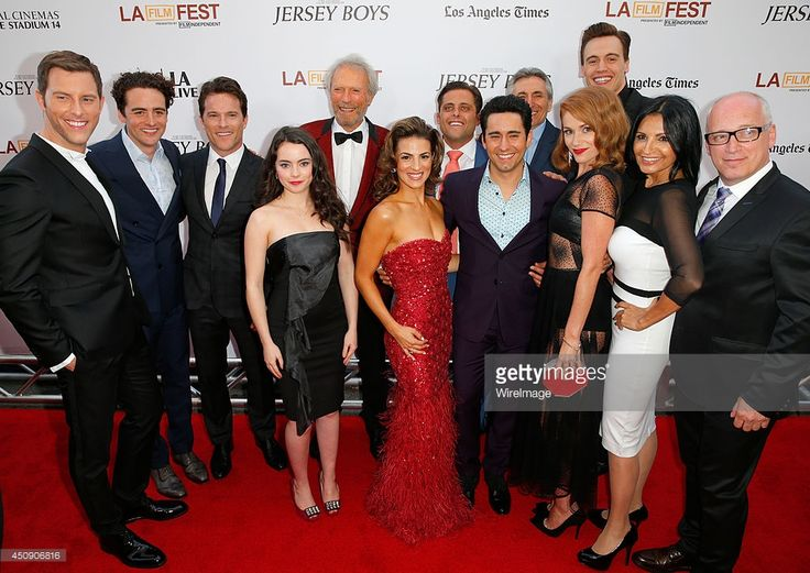 Actors Michael Lomenda, Vincent Piazza, Mike Doyle, Freya Tingley, producer/director Clint Eastwood, actors Renee Marino, John Lloyd Young, Lou Volpe, Erica Piccininni, Erich Bergen, Kathrine Narducci and Donnie Kehr attend the closing night film premiere of 'Jersey Boys' during the 2014 Los Angeles Film Festival at Premiere House on June 19, 2014 in Los Angeles, California.