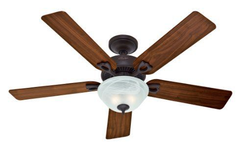 Hunter 28674 Dominion 52-Inch 5-Blade Single Light Ceiling Fan, New Bronze with Walnut/Medium Oak Blades and Frosted Glass Bowl by Hunter Fan Company, http://www.amazon.com/dp/B004URUAA4/ref=cm_sw_r_pi_dp_Zkfpsb111P4BR