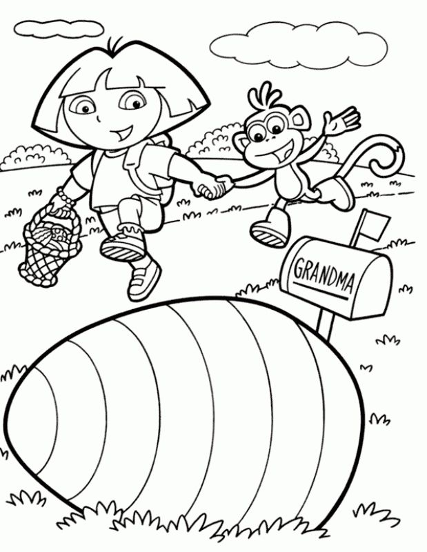Dora The Explorer Found Big Egg Coloring Pages